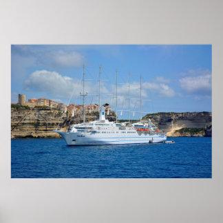 Five-mast gel yacht with Bonifacio, cruise ship Poster
