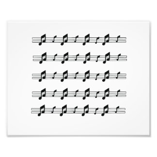 Five music staves with notes bw photographic print