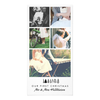 Five Photo | Married Couple First Christmas Photo Greeting Card