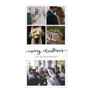 Five Photo   Married Couple Merry Christmas Script Card