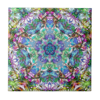 Five Points of Color Abstract Ceramic Tile