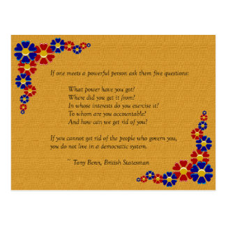 Five Questions to Ask a Powerful Person Postcards