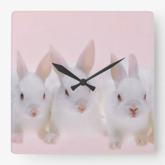 Five Rabbits 2 Square Wall Clock