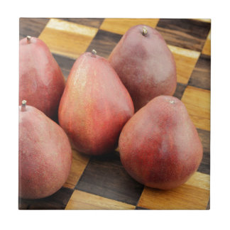 Five Red Pears on a Wooden Chessboard Ceramic Tile