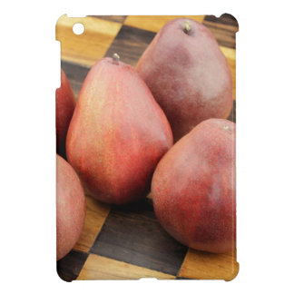 Five Red Pears on a Wooden Chessboard iPad Mini Cover