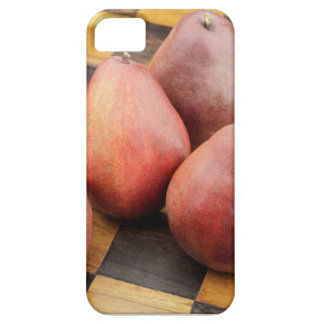 Five Red Pears on a Wooden Chessboard iPhone 5 Cases