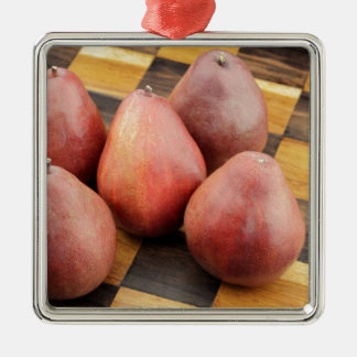 Five Red Pears on a Wooden Chessboard Metal Ornament