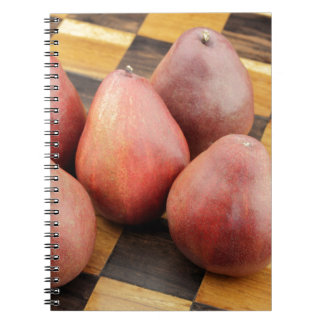 Five Red Pears on a Wooden Chessboard Notebook