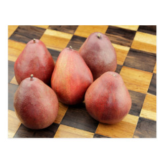 Five Red Pears on a Wooden Chessboard Postcard