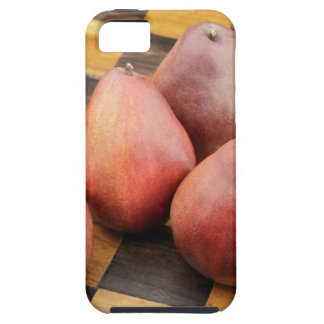 Five Red Pears on a Wooden Chessboard Tough iPhone 5 Case
