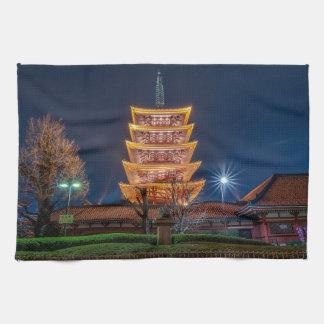 Five-Roof Pagoda at the Asakusa Temple, Tokyo Hand Towels