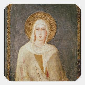 Five Saints, detail of St. Clare Square Sticker