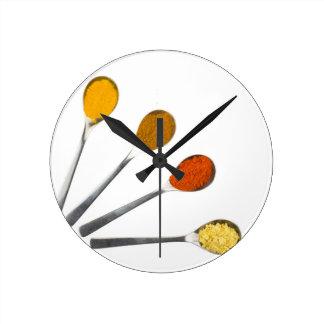 Five seasoning spices on metal spoons wallclock