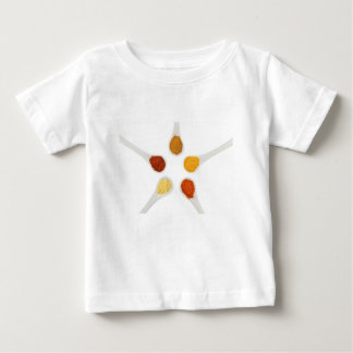 Five seasoning spices on porcelain spoons baby T-Shirt