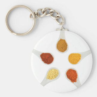 Five seasoning spices on porcelain spoons key ring