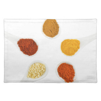 Five seasoning spices on porcelain spoons placemat