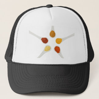 Five seasoning spices on porcelain spoons trucker hat