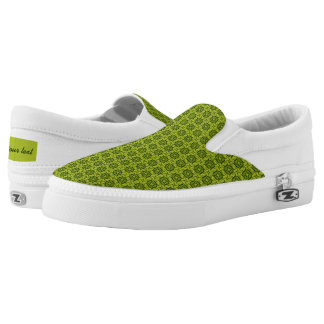 Five shaped green pattern printed shoes