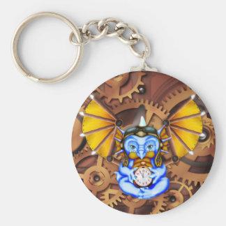 """""""Five to Twelve"""" steampunk dragon keychain"""