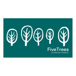 Five Trees - White on Teal Green Pack Of Standard Business Cards