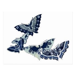 Five Vintage Blue Butterflies Postcards
