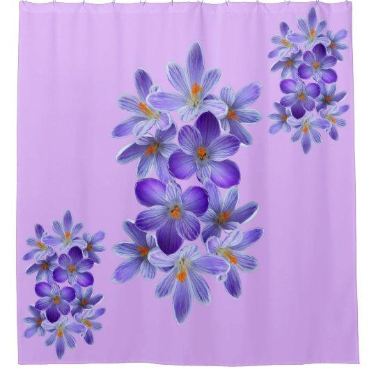 Five violet crocuses 05.0.5.2, spring greetings shower curtain