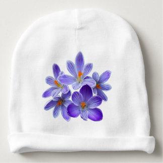 Five violet crocuses 05.0, spring greetings baby beanie