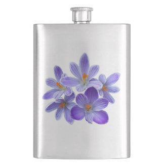 Five violet crocuses 05.0, spring greetings hip flask