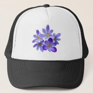 Five violet crocuses 05.0, spring greetings trucker hat