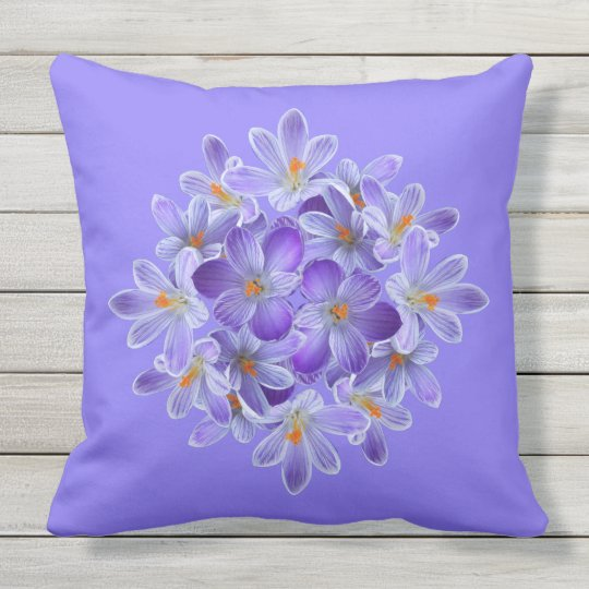 Five violet crocuses 05.10.2, spring greetings outdoor cushion