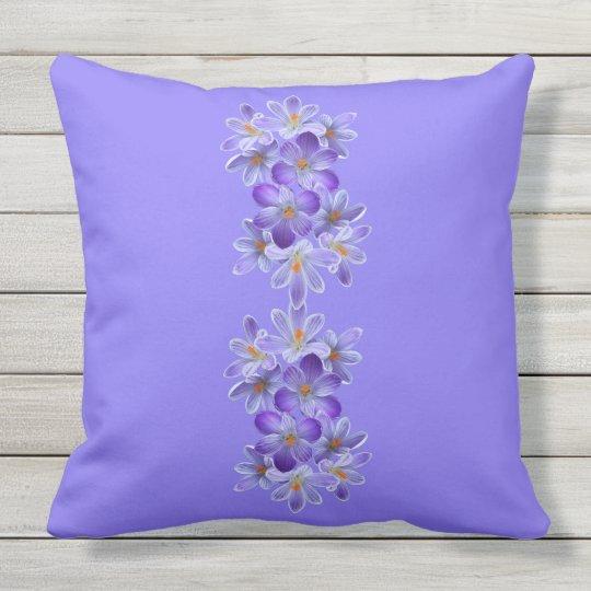Five violet crocuses 05.4.2.3, spring greetings outdoor cushion