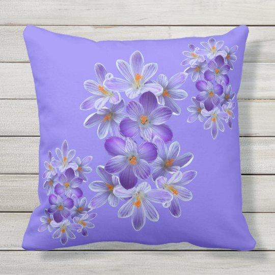 Five violet crocuses 05.4.2, spring greetings outdoor cushion