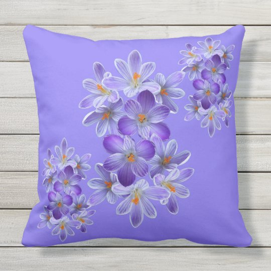 Five violet crocuses 05.4.2, spring greetings throw pillow