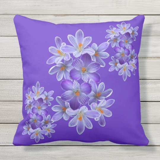 Five violet crocuses 05.4, spring greetings outdoor cushion