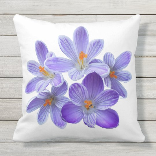 Five violet crocuses 05.5.w, spring greetings outdoor cushion