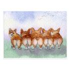 Five walk away together... postcard