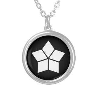 Five water caltrops (ten percentage drawing) silver plated necklace