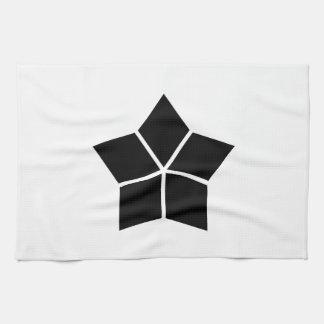 Five water caltrops (ten percentage drawing) tea towel