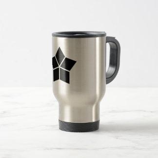 Five water caltrops (ten percentage drawing) travel mug