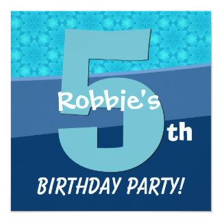 Five Year Old Birthday Blue Pattern For Boy V06D1A Custom Invitation