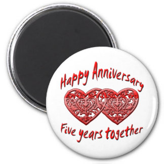 Five Years Together 6 Cm Round Magnet
