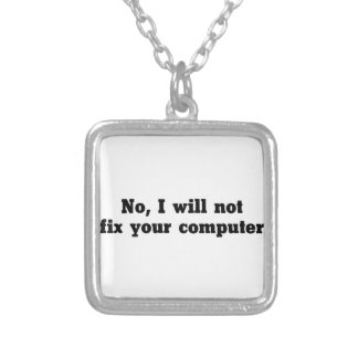 Fix Your Computer Silver Plated Necklace