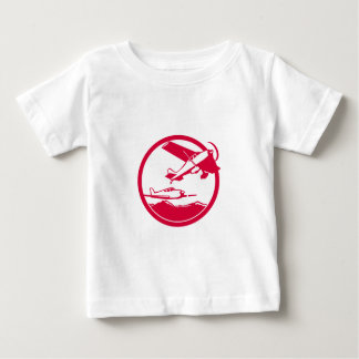 Fixed Wing Aircraft Taking Off Circle Retro Baby T-Shirt