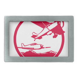 Fixed Wing Aircraft Taking Off Circle Retro Belt Buckles