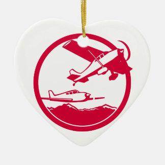 Fixed Wing Aircraft Taking Off Circle Retro Ceramic Ornament