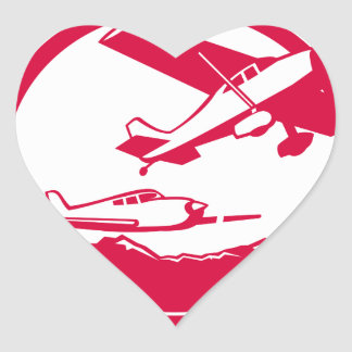 Fixed Wing Aircraft Taking Off Circle Retro Heart Sticker