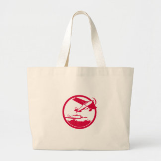 Fixed Wing Aircraft Taking Off Circle Retro Large Tote Bag