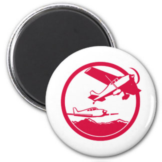 Fixed Wing Aircraft Taking Off Circle Retro Magnet