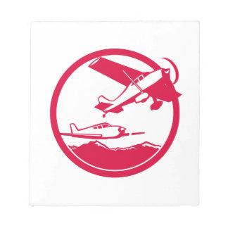 Fixed Wing Aircraft Taking Off Circle Retro Notepad