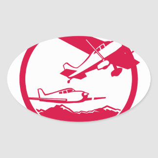 Fixed Wing Aircraft Taking Off Circle Retro Oval Sticker